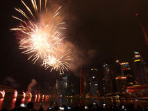 SG50 - Singapore's Golden Jubilee 2015 Fireworks Display Stock Image