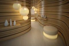 Sgabello di illuminazione nella stanza moderna. Interiore di disegno Immagine Stock
