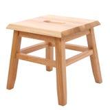 Sgabello di legno sopra bianco Fotografia Stock