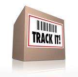 Sígalo redacta logística de seguimiento del envío del paquete Fotografía de archivo libre de regalías