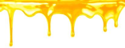 Sgocciolatura del miele sul bianco isolata Immagine Stock
