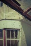 Sgocciolatura della pioggia di estate dal tetto dell'iarda Fotografie Stock Libere da Diritti