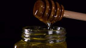 Sgocciolatura organica del miele dal cucchiaio di legno del miele su fondo nero stock footage