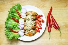 Sgombro e peperoncino rosso dell'insalata immagine stock libera da diritti
