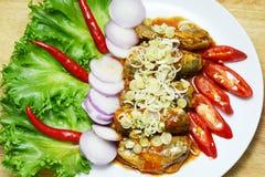 Sgombro e peperoncino rosso dell'insalata fotografia stock libera da diritti