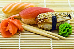 Sgombro e salmoni dell'anguilla dei sushi Immagini Stock Libere da Diritti
