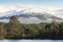 Sgor Gaoithe mountain at Glen Feshie in the Cairngorms National Park of Scotland. Winter snow on Sgor Gaoithe mountain at Glen Feshie in the Cairngorms National Royalty Free Stock Photo