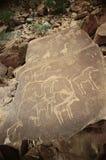 Sgraffite préhistorique d'animaux Images libres de droits