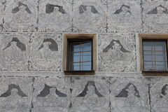 Sgraffito on facade with windows in Slavonice town Royalty Free Stock Image