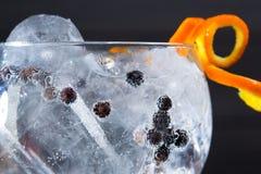 Sgrani il macro primo piano del cocktail tonico con le bacche di ginepro Immagini Stock