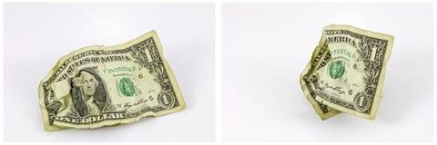 Sgualcito un collage dei soldi della banconota in dollari Fotografia Stock