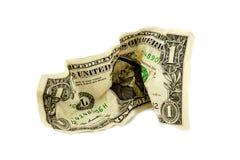 Sgualcito un dollaro Bill Fotografia Stock