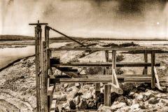 Sguardo d'annata della foto della valvola della miniera di sale immagine stock