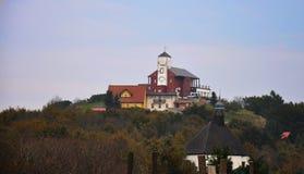 Sguardo da vicino sull'edificio di Komari Vizka del ristorante Fotografie Stock