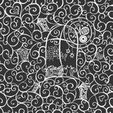 Sguardo del gatto fuori la finestra, illustrazione disegnata a mano Reticolo senza giunte Vettore illustrazione vettoriale