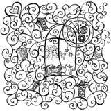 Sguardo del gatto fuori la finestra, illustrazione disegnata a mano Vettore illustrazione di stock