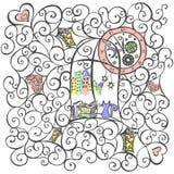 Sguardo del gatto fuori la finestra, illustrazione disegnata a mano Vettore royalty illustrazione gratis