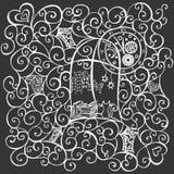 Sguardo del gatto fuori la finestra, illustrazione disegnata a mano Vettore illustrazione vettoriale