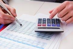 Sguardo dell'analista di finanza e rapporti finanziari immagine stock