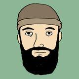 Sguardo della barba del boscaiolo dei pantaloni a vita bassa Fotografia Stock