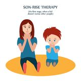 Sguardo della donna e del ragazzo alle loro dita Generi l'azione delle copie di suo figlio con autismo per mostrargli il suoi amo royalty illustrazione gratis