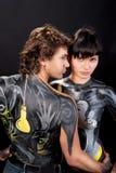 Sguardo di passione del modello caucasico di arte di corpo Immagine Stock