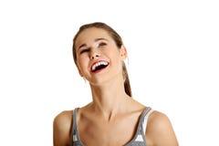 Sguardo teenager caucasico femminile in su. Immagini Stock
