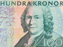 una corona svedese di valore nominale 100   Fotografie Stock