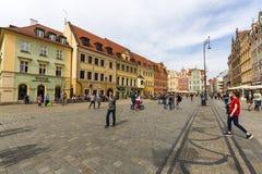 Sguare principal du marché un jour ensoleillé, Silésie inférieure, Wroclaw, Pologne Photographie stock