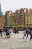 Sguare principal du marché un jour ensoleillé, Silésie inférieure, Wroclaw, Pologne Photo libre de droits