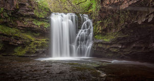 Sgwd Ddwli Isaf. Waterfalls on the river Neath, near Pontneddfechan in south wales, uk Royalty Free Stock Photos