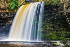 Sgwd gwaladus Waterfall, Brecon Beacons, South Wales Royalty Free Stock Photo