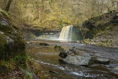 Sgwd gwaladus Waterfall, Brecon Beacons, South Wales Royalty Free Stock Photography