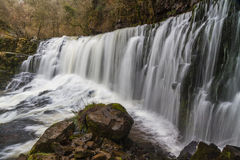 Sgwd Isaf Clun-Gwyn waterfall. On the river Afon Mellte South Wa Royalty Free Stock Images