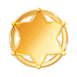 Shérif Badge Star Vector Icône hexagonale d'or d'étoile de police Photo stock