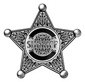 Shérif occidental Star Badge Photographie stock libre de droits
