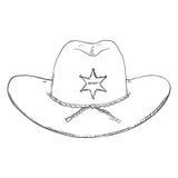 Shérif simple Hat de croquis de vecteur Photo stock