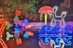 Sha Tin Festive Lighting em Hong Kong 2017 fotos de stock
