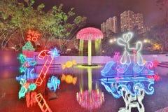 Sha Tin Festive Lighting em Hong Kong 2017 fotografia de stock royalty free