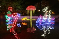 Sha Tin Festive Lighting em Hong Kong 2017 imagens de stock royalty free
