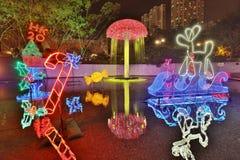 Sha Tin Festive Lighting em Hong Kong 2017 imagem de stock