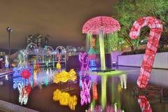 Sha Tin Festive Lighting em Hong Kong 2017 fotografia de stock