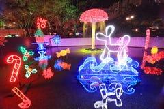 Sha Tin Festive Lighting a Hong Kong 2017 fotografia stock libera da diritti