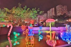 Sha Tin Festive Lighting a Hong Kong 2017 fotografie stock libere da diritti
