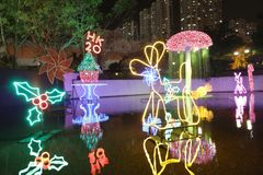 Sha Tin Festive Lighting a Hong Kong 2017 immagine stock