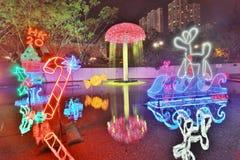 Sha Tin Festive Lighting a Hong Kong 2017 fotografia stock