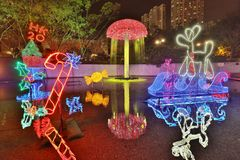 Sha Tin Festive Lighting på Hong Kong 2017 Fotografering för Bildbyråer