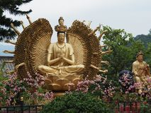 Several statues near the ten thousand buddhas monastery royalty free stock image