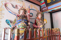 SHAANXI, CHINA - OCT 21 2014: Statues of Wang Ping,Guan Xing at. Wuzhangyuan Zhuge Liang Temple. a famous Historic Site in Baoji, Shaanxi, China Stock Photo