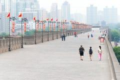 SHAANXI KINA - Juni 01 2015: Stadsvägg av Xi'an en berömda Histo Arkivbilder